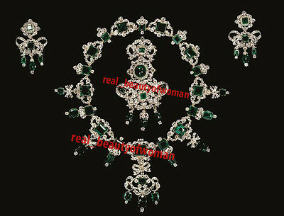 22.08cts Rose Cut Diamond Emerald Silver Necklace Set With Mang Tikka & Earrings