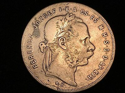 T2: World Coin HUNGARY Silver Franz Joseph 1874 K.B. 1 Forint