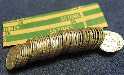 Assorted 1945 & pre-1945 Mercury Dimes-One (1) roll- 50 coins/$5-circ