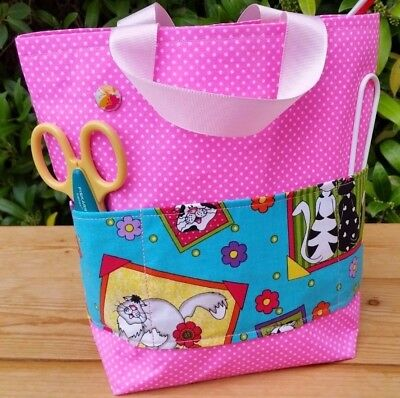Knitting Bag, Pink/White Spots, Kitty Cat Pockets, Pink Lining, Hand Made