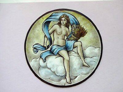 Beautiful Stained glass.Hand painted.Kiln fired. Diameter - 175 mm.