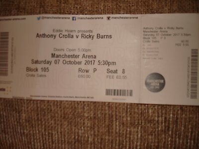 Anthony Crolla v Ricky Burns Boxing Ticket 7/10/2017