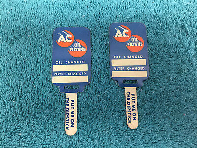 """Vintage two 2 Oil Filter Oil Change Metal Markers AC Atlantic 3"""" Long Not Used"""