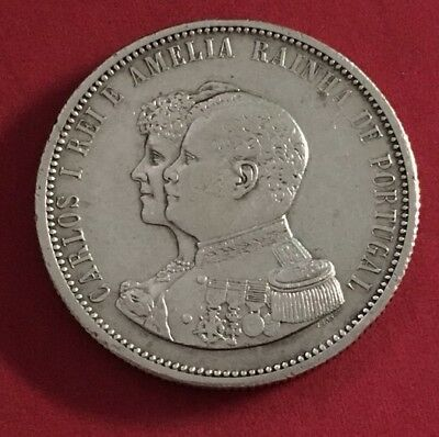 Portugal 🇵🇹 1000 Reis 1898 India Discover Silver Lot # 2205