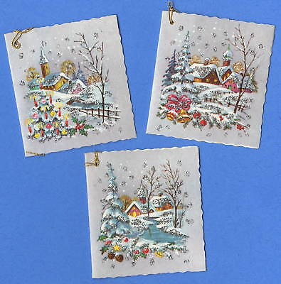 Vintage Kruger Christmas Snowy Gift Tags 502/53 West Germany NOS with Glitter