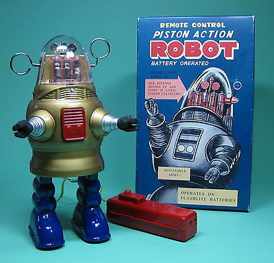 Schöner Roboter Piston Action Robot Battery Operated Re Edition *****