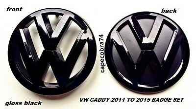 VW Caddy Gloss Black Front & Rear Badge Set 2011 to 2016 UK Seller.
