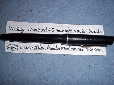 Vintage Osmiroid 65 fountain pen in black, lever filler GWO used VGC. marked KF