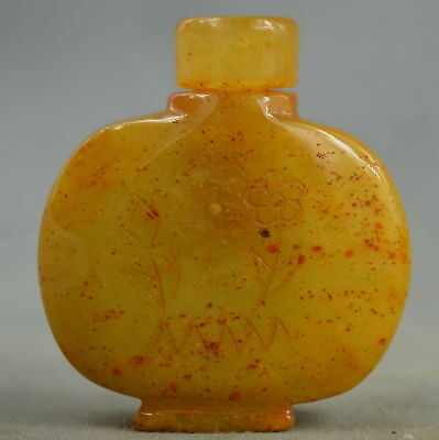 Chinese Collectable Handwork Old Jade Carve Beauty Flower Souvenir Snuff Bottle