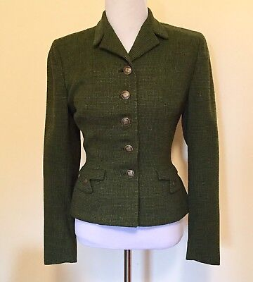 Vintage 1950s Green Tweed Jacket XS Great Details Hourglass Fitted Handmacher