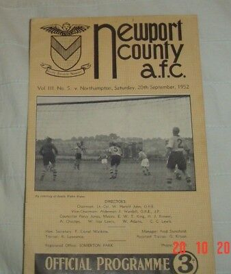 Newport County Northampton Town 1952 Programe Division 3 South