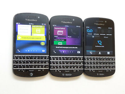 Lot of 3 Blackberry Q10 Smartphones 1 AT&T & 2 T-Mobile AS-IS GSM