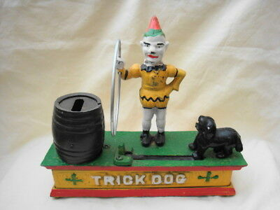 Vintage Cast Iron Trick Dog And Clown Mechanical Bank