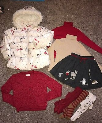 Next Woodland Winter Bundle Age 5-6 Coat Skirt Tights Cardigan Jumpers