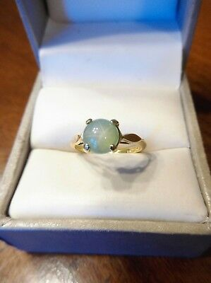 "Antique 14K Yellow Gold Green ""STAR"" Asterism Stone Ring 1.7 gram Size 4.5 (625)"