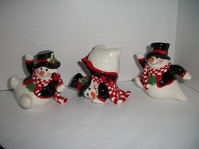 set 3 Tumbling  Frosty the Snowman with little Cardinal~handpainted~Fitz Floyd