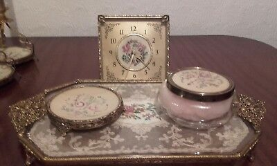 Petit Point Filligree Dressing Table Set And Clock.