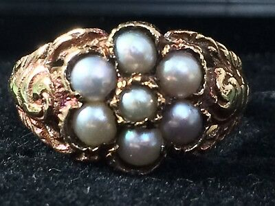 Georgian Regency Rose Gold And Pearl Cluster Ring