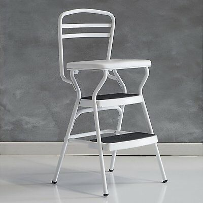Cosco White Retro Counter Chair / Step Stool With Lift Up Seat, 11130WHTE  New
