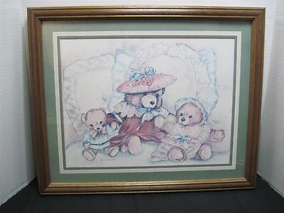 Home Interiors Victorian Teddy Bears Framed Picture Kids Nursery HOMCO 22 x 18