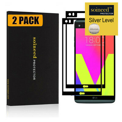 [2-Pack] SOINEED Full Coverage Tempered Glass Screen Protector For LG V20 Black