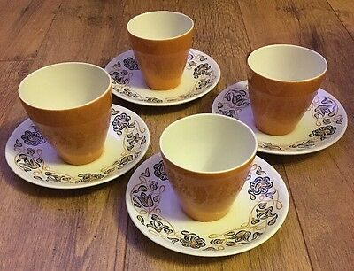 Poole Pottery Cup & Saucer Set X 4 Desert Song Design