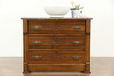 Victorian Eastlake Cherry Antique 1890 Chest or Dresser, Marble Top