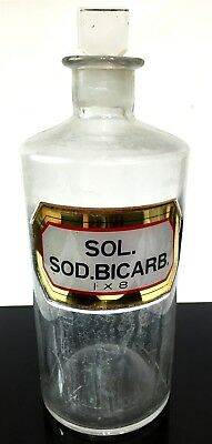 Old Clear Sodium Bicarbonate Baking Soda Pharmacy Apothecary Bottle Empty