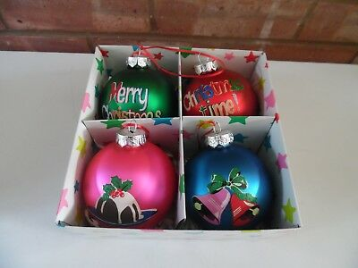 Cath Kidston Set of four Christmas hand Painted Glass Baubles Decorations - New