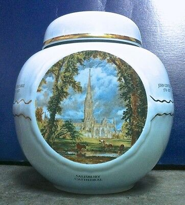 5 1/2 INCH TALL 3-SIDED PORCELAIN TWINING TEA CADDY with PAINTINGS BY CONSTABLE