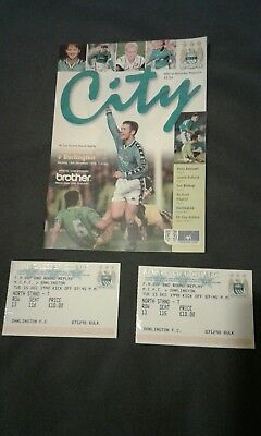 manchester city v darlington 1998 fa cup programme and 2 tickets