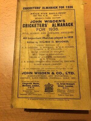 Wisden Cricketers' Almanack - 1936 - Original Spine And Covers - Complete Bat