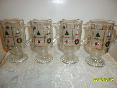 Vintage Culver, USA Set of 4 Holiday/Christmas Pedestal Mugs W Gold Accents
