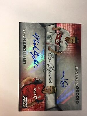 2017 Topps MLS Jonathan Osario & Nick Hagglund Co-Signers Autograph Auto 01/15
