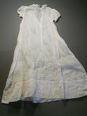 Vintage Tiny Tots Christening Dress White Lacey Long Delicate (863)