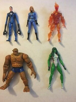 Marvel Legends Lot of Fantastic Four Figures Human Torch Thing Invisible Woman