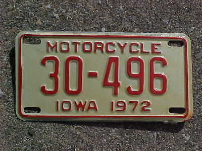 1972 Iowa Motorcycle license plate. # 30-496. Dickinson County. NOS.