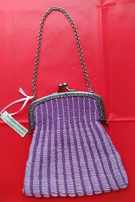 Purle Hand Knitted and Beaded Silver tone  Filigree Frame Evening  Purse