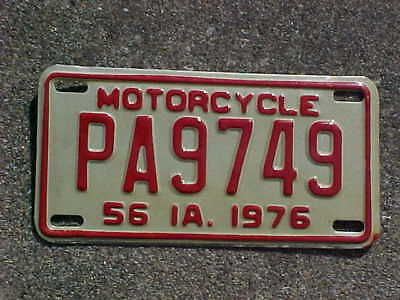 1976 Iowa Motorcycle license plate. # PA9749. Lee County. NOS.