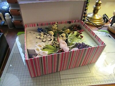 Box Of Beautiful Paper And Silk Flowers