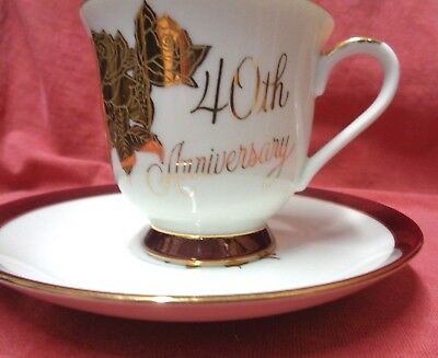Vintage Chatillon Fine Porcelain - 40th Anniversary Cup and Saucer Set