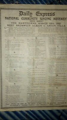 March 12th 1927 West Bromwich Albion v Aston Villa Daily Express Song Sheet WBA