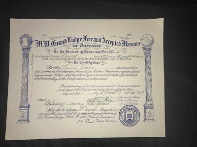 M.W. Grand Lodge of Tennessee Membership Certificate 1949