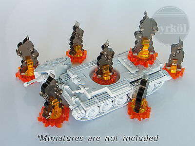 Pyrkol Flame Smoke Marker Token set for FoW Dropzone Commander Epic 40k 6mm 10mm