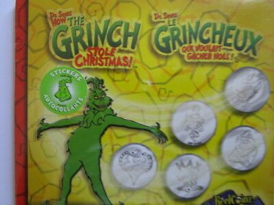 "Dr. Seuss  "" The Grinch Who Stole Christmas""  5 medallion Reelz Coins  set./ ite"