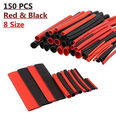 150Pcs Heat Shrink Tubing Cable Wrap Black Red Connection Tube Sleeve Kit 8 Size