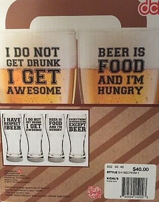 Set of 4 DCI Beer-ism 16.9 oz Lager Glass w Witty Humorous Phrases NEW