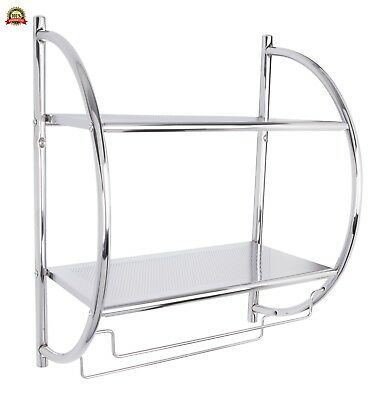 Croydex Chrome Plated Mild Steel Wall Mounted Curved Shelving Unit and Towel Rac