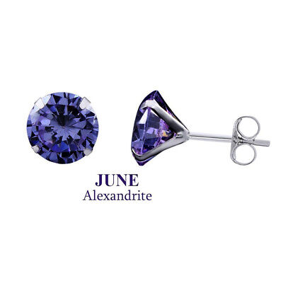 18K White Gold Over 8mm Round Alexandrite June Birthstone Stud Earrings NR