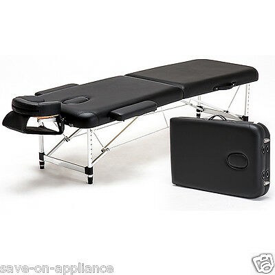 "USED Aluminum Light Weight 84"" 2-Section Portable Massage Table Facial SPA Bed"